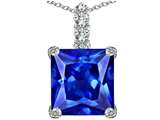 Star K™ Large 12mm Square Cut Simulated Tanzanite Pendant Necklace style: 306141