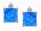Star K™ 7mm Square Cut Blue Created Opal Earrings Studs style: 306144