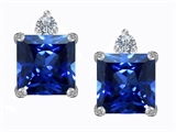 Star K™ 7mm Square Cut Created Sapphire Earrings Studs style: 306148