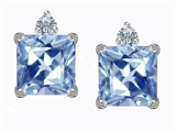 Star K™ 7mm Square Cut Simulated Aquamarine Earrings Studs style: 306151