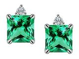 Star K™ 7mm Square Cut Simulated Emerald Earrings Studs style: 306152