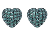 Star K™ Small Puffed Heart Love Earrings with Simulated Emerald style: 306155