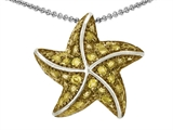 Star K™ Starfish Pendant Necklace With Round Simulated Citrine style: 306157
