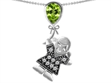 Star K™ Girl Holding a Balloon Mother August Birth Month Pear Shape Simulated Peridot Pendant Necklace style: 306158
