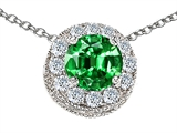 Star K™ Round Simulated Emerald Halo Pendant Necklace style: 306159