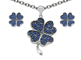 Celtic Love by Kelly Created Sapphire Lucky Clover Pendant with matching earrings style: 306172