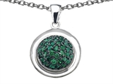 Star K™ Round Puffed Pendant Necklace with Simulated Emerald style: 306173