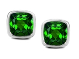 Star K™ 8mm Cushion Cut Simulated Emerald Earrings Studs style: 306188
