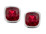 Star K™ 8mm Cushion Cut Created Ruby Earrings Studs style: 306189