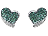 Original Star K™ Heart Shape Love Earrings With Simulated Emerald style: 306200