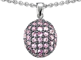 Star K™ Oval Puffed Pendant Necklace with Created Pink Sapphire style: 306202