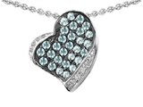 Star K™ Heart Shape Love Pendant Necklace With Simulated Aquamarine style: 306203