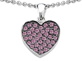 Star K™ Heart Shape Love Pendant Necklace with Created Pink Sapphire style: 306206