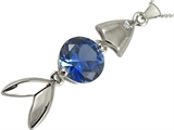 Star K™ Fish Pendant Necklace With Round Created Sapphire style: 306215
