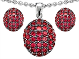 Star K™ Created Ruby Oval Puffed Pendant with matching earrings style: 306217