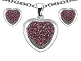 Star K™ Created Ruby Heart Shape Love Pendant with matching earrings style: 306219