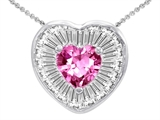 Star K™ Heart Shape Created Pink Sapphire Heart Pendant Necklace style: 306221