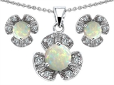 Star K™ Simulated Opal Flower Pendant With Matching Earrings style: 306230