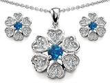 Star K™ Simulated Blue Opal Flower Pendant With Matching Earrings style: 306231