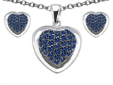 Star K™ Created Sapphire Heart Shape Love Pendant with matching earrings style: 306236