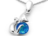 Star K™ Round 6mm Blue  Created Opal Cat Pendant Necklace style: 306242