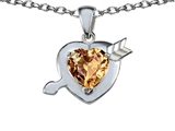 Star K™ Heart With Arrow Love Pendant Necklace With Simulated Imperial Yellow Topaz style: 306243