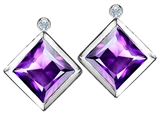 Star K™ Square Genuine Amethyst Earrings Studs With High Post On Back style: 306248