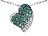Star K™ Heart Shape Love Pendant Necklace With Simulated Emerald style: 306253