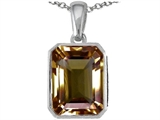 Star K™ Emerald Cut 10x8mm Genuine Smoky Quartz Pendant Necklace style: 306254