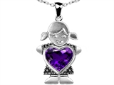 Star K™ Girl Holding 8mm Mother Heart February Birth Month Pendant Necklace with Simulated Amethyst style: 306256