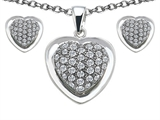 Star K™ Cubic Zirconia Heart Shape Love Pendant with matching earrings style: 306263
