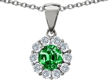 Original Star K™ Round Simulated Emerald Pendant style: 306266