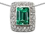 Original Star K™ Emerald Cut Simulated Emerald Pendant style: 306271