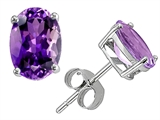 Star K™ Classic Oval 7x5mm Genuine Amethyst Earrings Studs style: 306277