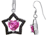 Original Star K™ Heart Shape Created Pink Sapphire Black Star Hanging Hook Earrings style: 306279