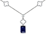 Star K™ Emerald Cut Created Sapphire Necklace style: 306281