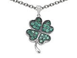 Celtic Love by Kelly Lucky Clover Pendant with Simulated Emerald style: 306292