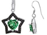 Original Star K™ Heart Shape Simulated Emerald Black Star Hanging Hook Earrings style: 306295