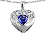 Star K™ Heart Shape Created Sapphire Heart Pendant Necklace style: 306299