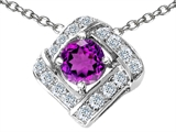 Star K™ Round Genuine Amethyst Pendant Necklace style: 306302