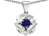 Star K™ Round Created Blue Sapphire Pendant Necklace style: 306304