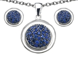 Original Star K™ Created Sapphire Round Puffed Pendant with matching earrings style: 306307