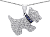 Star K™ Dog Pendant Necklace With Round Created Sapphire style: 306308