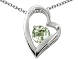 Star K™ 7mm Round Green Amethyst Heart Pendant Necklace style: 306309