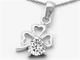 Celtic Love by Kelly Round White Topaz Lucky Clover Pendant Necklace style: 306313
