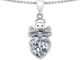 Star K™ Love Angel Pendant Necklace with 10mm Genuine White Topaz Heart style: 306316