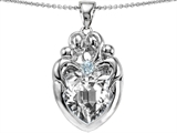 Star K™ Large Loving Mother and Twins Family Pendant Necklace With Heart Shape 12mm Genuine White Topaz style: 306317