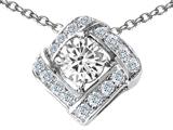 Star K™ Round Genuine White Topaz Pendant Necklace style: 306335