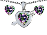 Original Star K™ Rainbow Mystic Topaz 8mm Heart with Arrow Pendant with matching earrings style: 306336