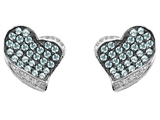 Star K™ Heart Shape Love Earrings With Simulated Aquamarine style: 306337